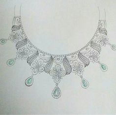 . Hand Embroidery Designs, Beaded Embroidery, Embroidery Patterns, Sewing Patterns, Diy Jewelry Necklace, Necklace Designs, Jewelry Art, Jewelry Design Drawing, New Jewellery Design