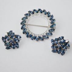 Vintage Light Blue Brooch & Earring Set  Designer by PinkAstilbe, $40.00