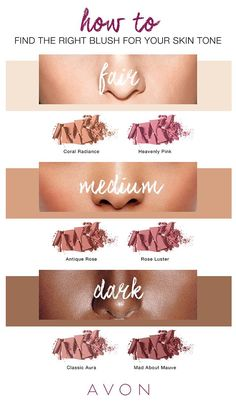 This blush guide is so helpful. I never know what looks good with my skin tone.   Not your mama's cosmetics company!  Avon has made so many updates to its products and branding that if it weren't for the consistently low price and amazing quality, you'd hardly recognize it!  Check out our collection of makeup, bath and beauty products, fragrances, accessories, and more.  Pamper yourself or find the perfect gift for anyone on your list.