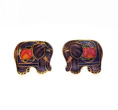 Cloisonne Enamel Elephant Clip On Earrings by VintagePennyLane, $5.00