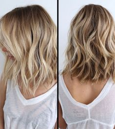 21 Fantastic Easy Shoulder-Length Hairstyles: #6. Trendy balayage wavy lob hairstyle; #balayage; #ThickHair; #lobhairstye