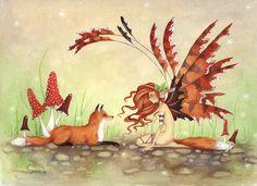 Fairy Art Fine Art Print - 8.5x11 - The Fox's Faery -  Fantasy whimsical animal rust orange illustration watercolor. $20.00, via Etsy.