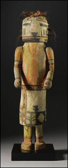 A Large Hopi Polychrome Wood Kachina Doll, depicting Umtoinaqa Estimate 8,000 — 12,000 USD  LOT SOLD. 40,625 USD H : 18 3/4 in Coll Enrico Donati