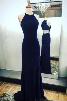 Navy Blue Sheath Long Prom Dress Elegant Halter Evening Dresses