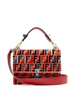 293cc74d7fa4 Fendi Kan I logo-print velvet shoulder bag Over The Shoulder Bags