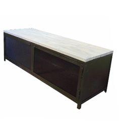 Armario Industrial de hierro oxidado con sobre de madera envejecido y puertas en rejilla deployé, medidas del armario 100x50 h-50 , se puede fabricar con un estante en medio . Consultar otras medidas