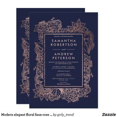 Modern elegant floral faux rose gold frame midnight blue wedding card