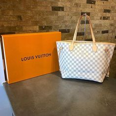 Louis Vuitton Damier Azur Neverfull MM JUST IN!   Call/text us at 813-382-9491 if you would like to purchase before it goes online!