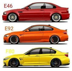 Very colorfull BMW 300 series generations poster