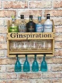 Personalised Drinks rack home bar cocktail cabinet rustic wall mounted gin wine whisky prosecco vodka wedding gift Cocktail Bar Interior, Home Cocktail Bar, Cocktail Drinks, Prosecco Cocktails, Diy Home Bar, Bars For Home, Whisky, Gin Bar, Home Bar Designs