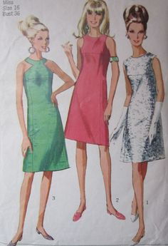 SIMPLICITY 6842 Vintage Sewing Pattern MISSES 1960's DRESS size 16, bust 36, CUT #Simplicity #OnepieceDress