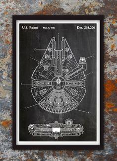 Star Wars millénaire Falcon - décor de Geek - brevet tirage Poster Wall Decor celui impressions #115 Nous utilisons des encres d'archives et acide d'archives papier lustre dans l'impression de nos gravures et d'affiches. Lustre papier dispose d'une finition semi-gloss légère qui