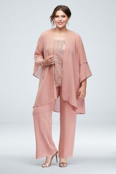 Breezy and beautiful, you\'ll be ready for any special occasion in this three-piece, plus size set, with a waterfall jacket and wide-leg pant made from comfortable, flowy georgette. A metallic lace sh Mob Dresses, Necklines For Dresses, Bride Dresses, Wedding Dresses, Mother Of The Bride Plus Size, Two Piece Gown, Mother Of Bride Outfits, Plus Size Gowns, Bride Groom Dress