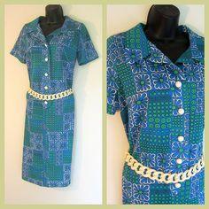 Mod Sixties Sheath Pop Art Dress Boho Button Blue by modernmatters, $44.00