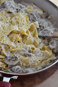 This Mushroom Ricotta Pasta Recipe is an easy and indulgent dinner. Made with mushrooms, ricotta cheese and parmesan. Pure comfort food!