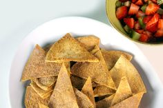 Average tortilla chips and salsa are twisted into an interesting dessert your family will love!