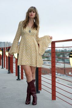 70s style bell sleeve dress, adorable.