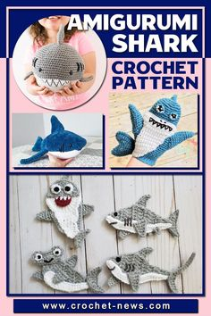 You have to admit that sharks are one of the most magnificent creatures on this planet. People are either afraid or absolutely fascinated by them.From 12 cuddly amigurumi sharks to 5 bonus shark-themed patterns including shark hat, blanket, applique, and more, you can find a few to fit any aspect of your life.Who said that sharks cannot be cute? This list definitely is!#crochetpattern #crohchetnews #crochetideas Crochet Shark, Crochet Animal Amigurumi, Amigurumi Patterns, Amigurumi Doll, Knitting Patterns, Crochet Patterns, Crochet Ideas, Crochet Gifts, Cute Crochet
