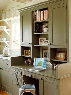 like the small shelves and shelf between cupboards
