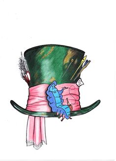 That's the neatest combination of alice and wonderland aspects I've seen.I would add chesire cat on top of hat or his tail around the brim. Alice In Wonderland Hat, Alice And Wonderland Tattoos, Cheshire Cat Tattoo, Chesire Cat, Caterpillar Tattoo, Caterpillar Art, Caterpillar Costume, Gato Alice, Mad Hatter Tattoo