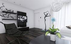 Captivating Schwarz Weiß Ergonomischer Sessel Offene Regale · Black Living RoomsLiving  Room IdeasStatueSchickBlack And ...