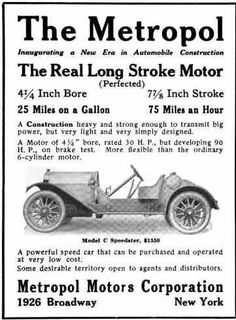 1914 Metropol Automobile Advertisement