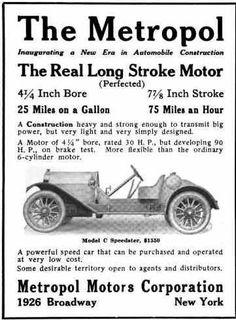 1914 Metropol Automobile Advertisement