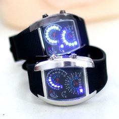 Mens Turbo Blue & White Flash LED Watch