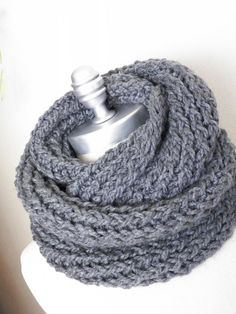 Charcoal Gray Infinity Scarf, Chunky Knit, Winter Scarf, Dark Grey, Thick, Cold Weather Fashion Knitwear. $40.00, via Etsy.