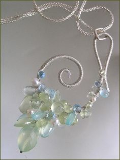 Items similar to Dancing Angels...Prehnite Pearls Chalcedony Blue Topaz Draped Sterling Scrolled Nautilus Pendant on Etsy