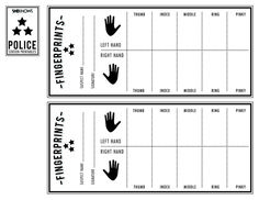 Police officer's finger print sheet - Free Printable Coloring Pages