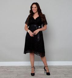 Retro Glam Lace Plus Size Party Dresses - Kiyonna Vestido de fiesta gordita