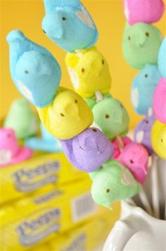 Peeps on a stick      Centerpiece & take home gift  for Easter gatherings :)