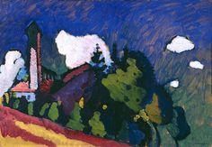 """bofransson: """" Vasily Kandinsky, Study for """"Landscape with Tower"""" (Studie für """"Landschaft mit Turm""""), 1908 """""""