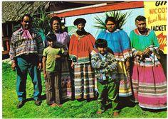 Typical Miccosukee Indian Family - Florida Everglades - Chrome Postcard