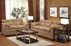 Lucille Latte Fabric Living Room Set