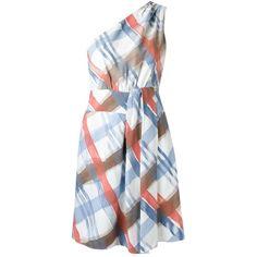 Tufi Duek one shoulder dress (7.066.330 IDR) ❤ liked on Polyvore featuring dresses, white, pattern dress, multi-color dress, one sleeve dress, multi colored dress and white one shoulder dress