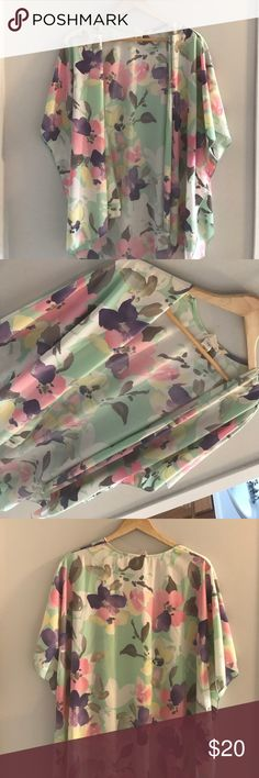 Flower  Blouse Lightly used floral cardigan. Flowy and comfortable. Great condition. {emory park} Tops Blouses