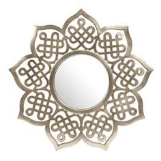 Wall mirror with an openwork frame and champagne finish.  Product: Wall mirrorConstruction Material: Polyurethan...
