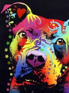 Thoughtful Pitbull Warrior Heart ~ in Rainbow color