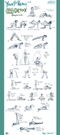 Yoga hangover detox sequence! Do these slow. 1-2 mins each.
