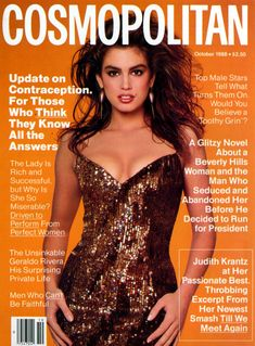 CINDY CRAWFORD | COSMOPOLITAN OCTOBER,1988  COVER PHOTOGRAPHED BY FRANCESCO SCAVULLO