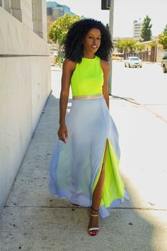 Neon Maxi Dress. Yellow and Grey. Summer Fashion. Summer Dress. Colour Block Fashion