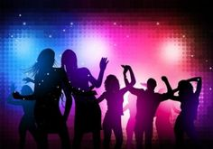 Disco party dancing people silhouettes