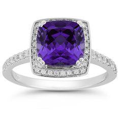 <b>Amethyst</b> and Pave Diamond <b>Halo</b> <b>Ring</b> in 14K White Gold