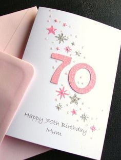 MUM'S 70th BIRTHDAY CARD (PINK NUMBERS) - Click Image to Close