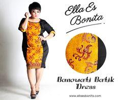 Banowati Batik Dress - This bodycon batik dress features high quality stretch twill and batik cotton, polyesther batik cotton, and silk batik which specially designed for sophisticated curvy women originally made by Indonesian Designer & Local Brand: Ella Es Bonita. Available at www.ellaesbonita.com