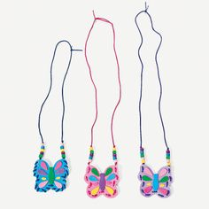 Butterfly Pouch Necklace Craft Kit - OrientalTrading.com