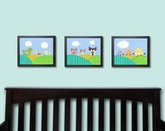 Nursery Art - Owl, Bird, and Turtle Family