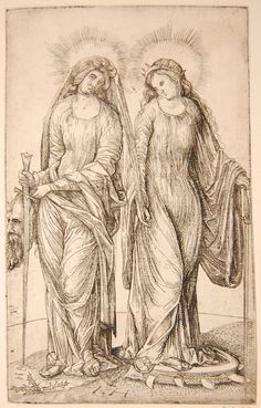 Judith and St Catherine of Alexandria; copies in reverse after Jacopo de' Barbari (Hind 7 & 8); whole-length standing figures, Judith on left holding the sword and head of Holofernes, Catherine on right on the wheel, with palm leaf and sword. Etching